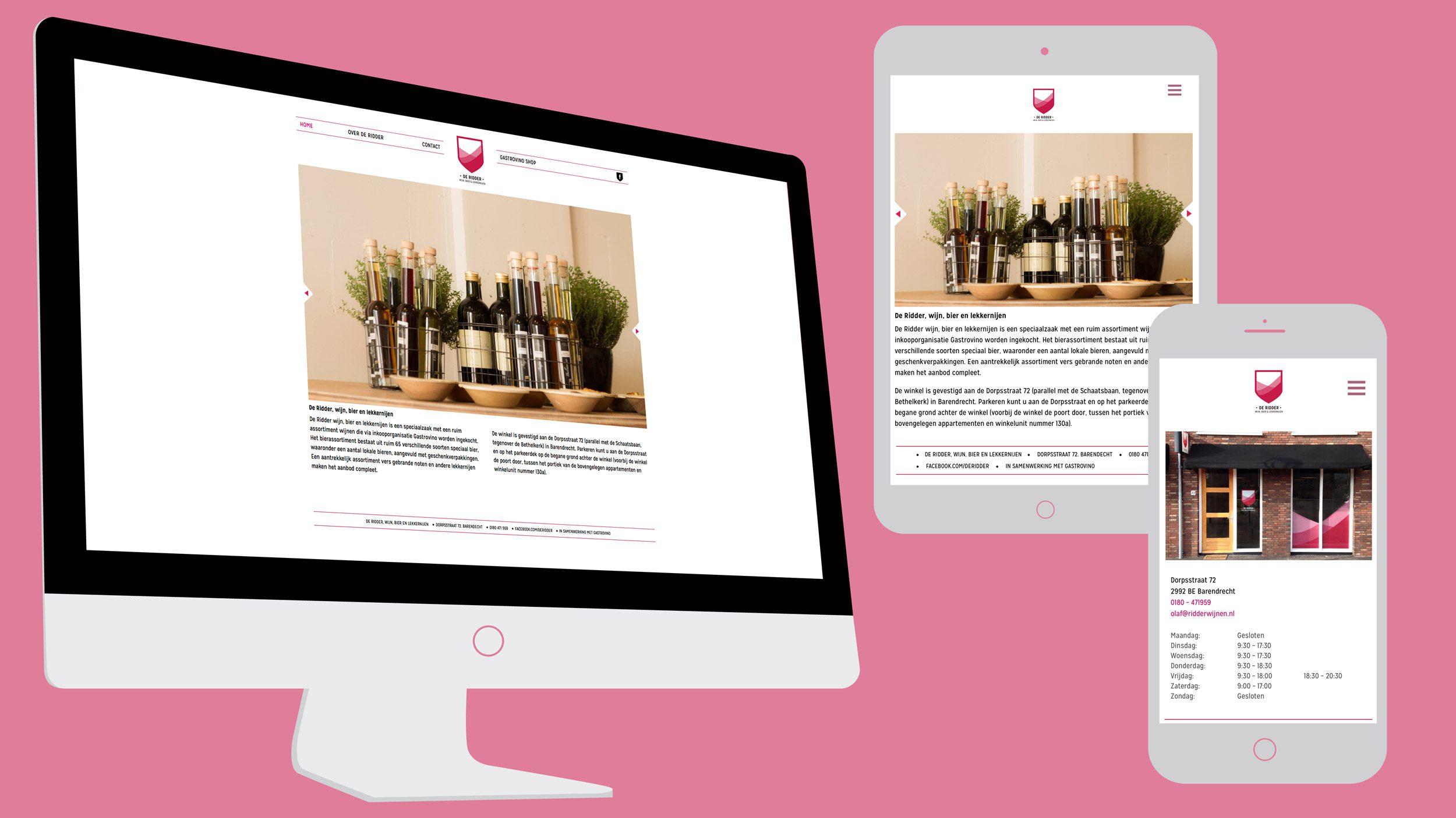 De Ridder, wijn, bier en lekkernijen, website, Mixus studio