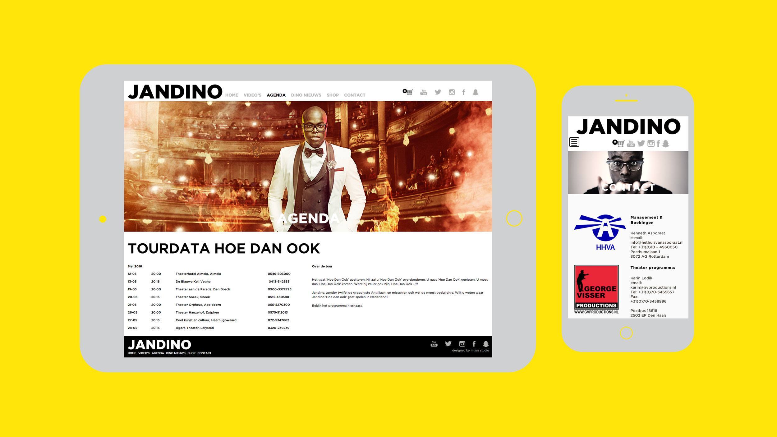 Jandino, website tablet & mobiel, Mixus studio