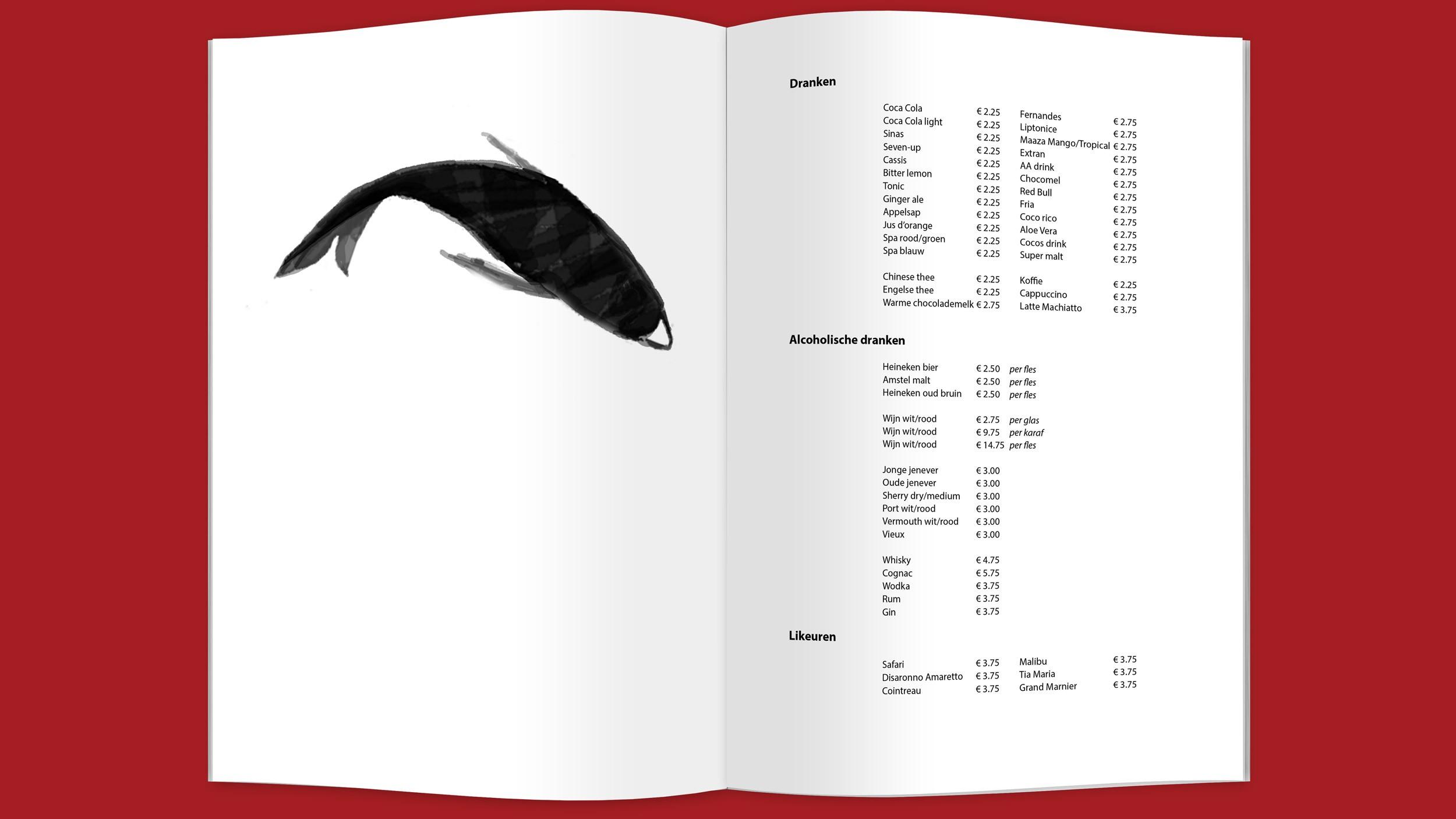 Nieuw Peking, menukaart, Mixus studio
