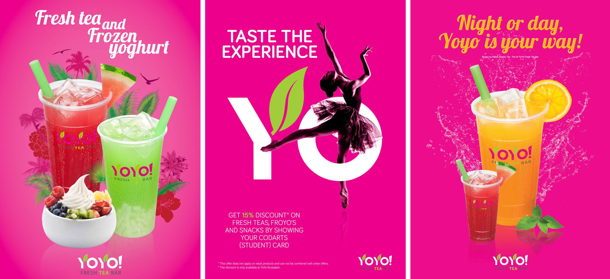 YoYo! Fresh Tea Bar, posters, Mixus studio