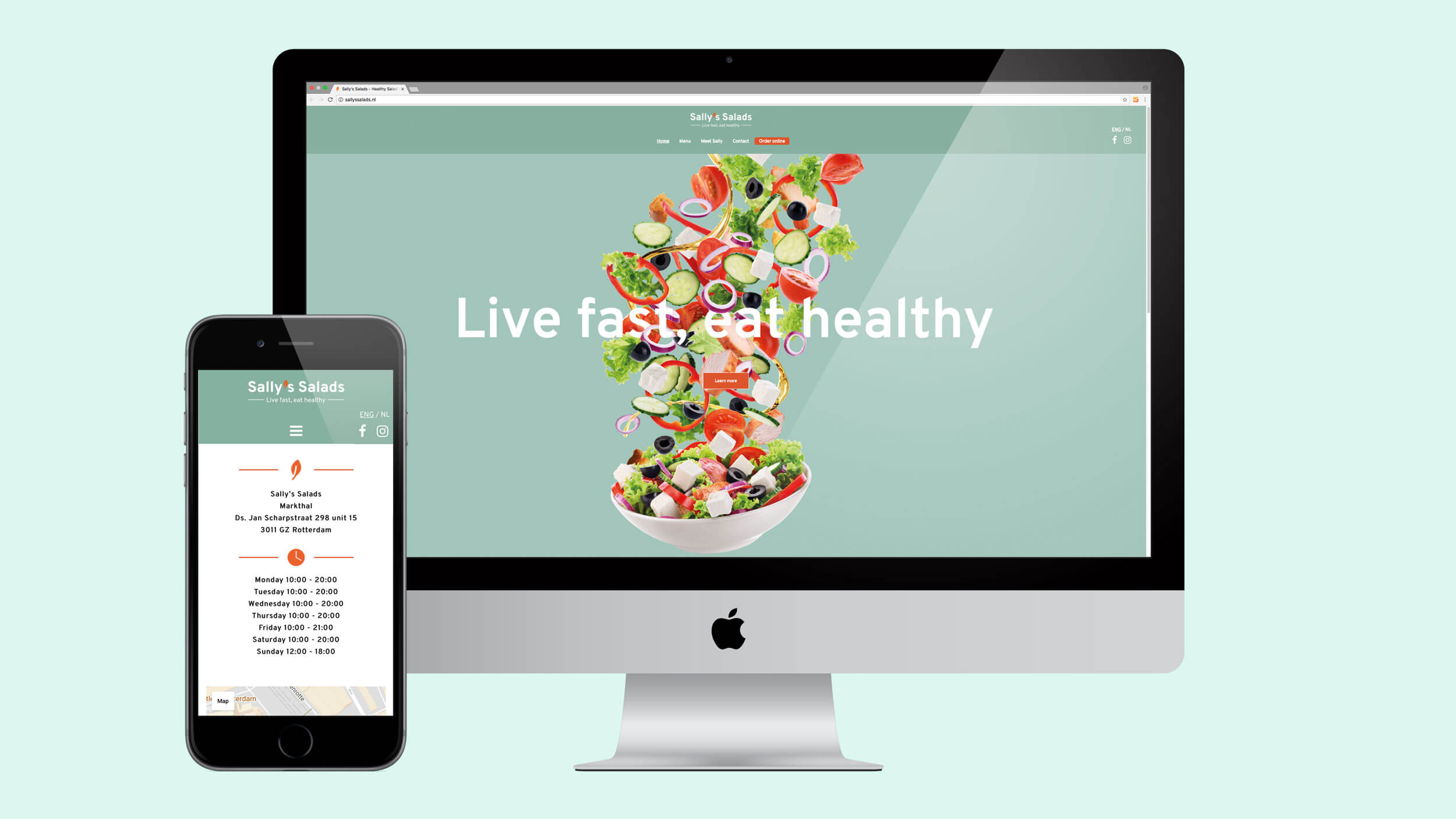 Sally's Salads, website, Mixus studio