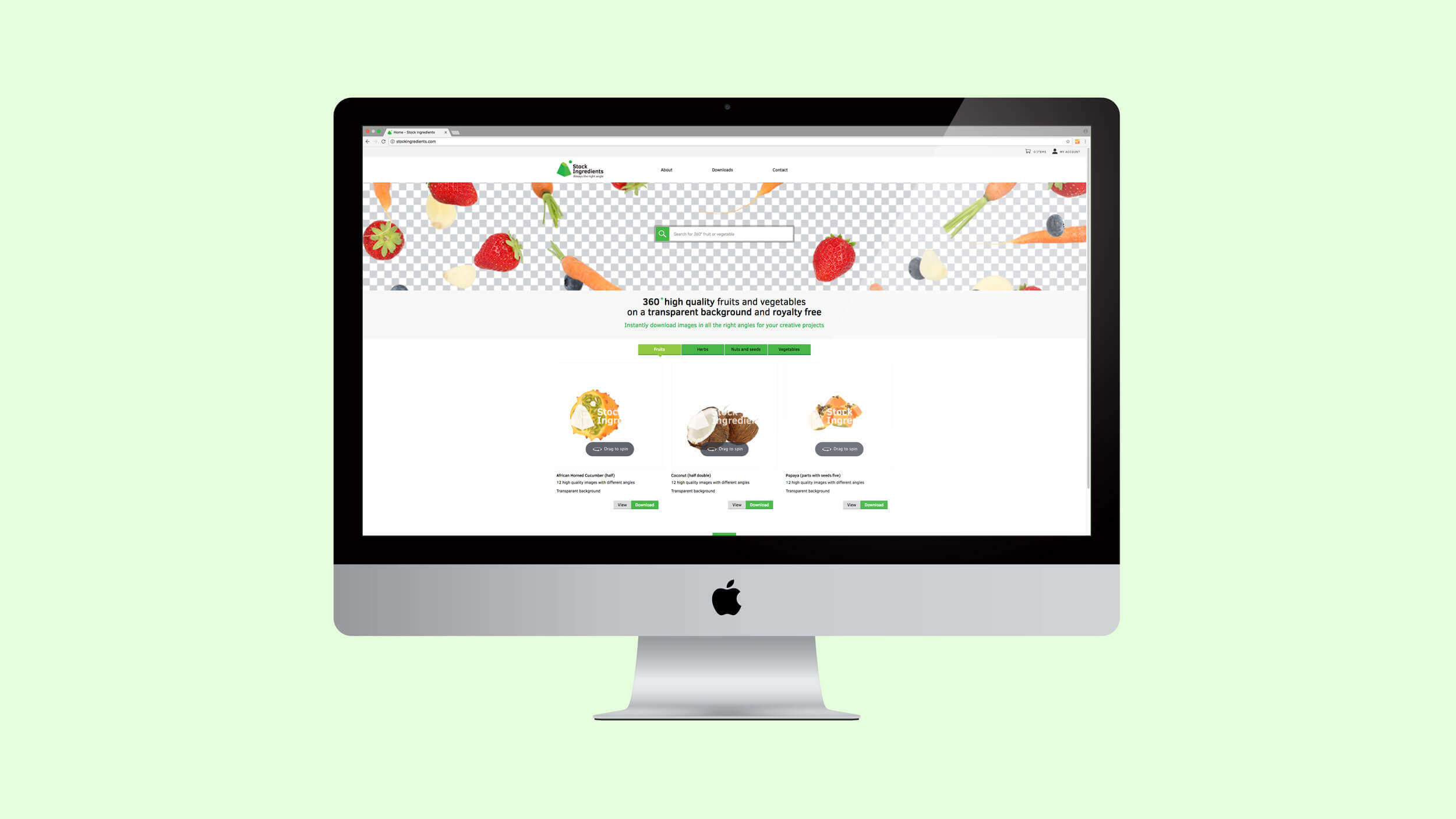 Stock Ingredients, website, Mixus studio