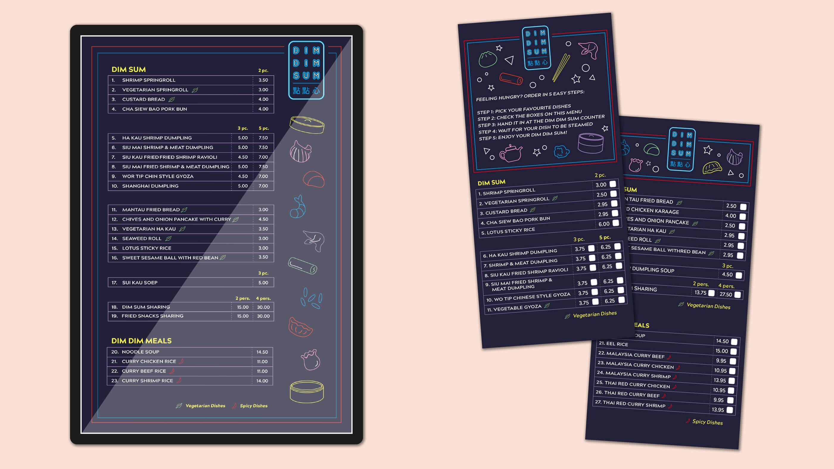 Dim Dim Sum, Mixus studio, Menuscherm en Take away menu