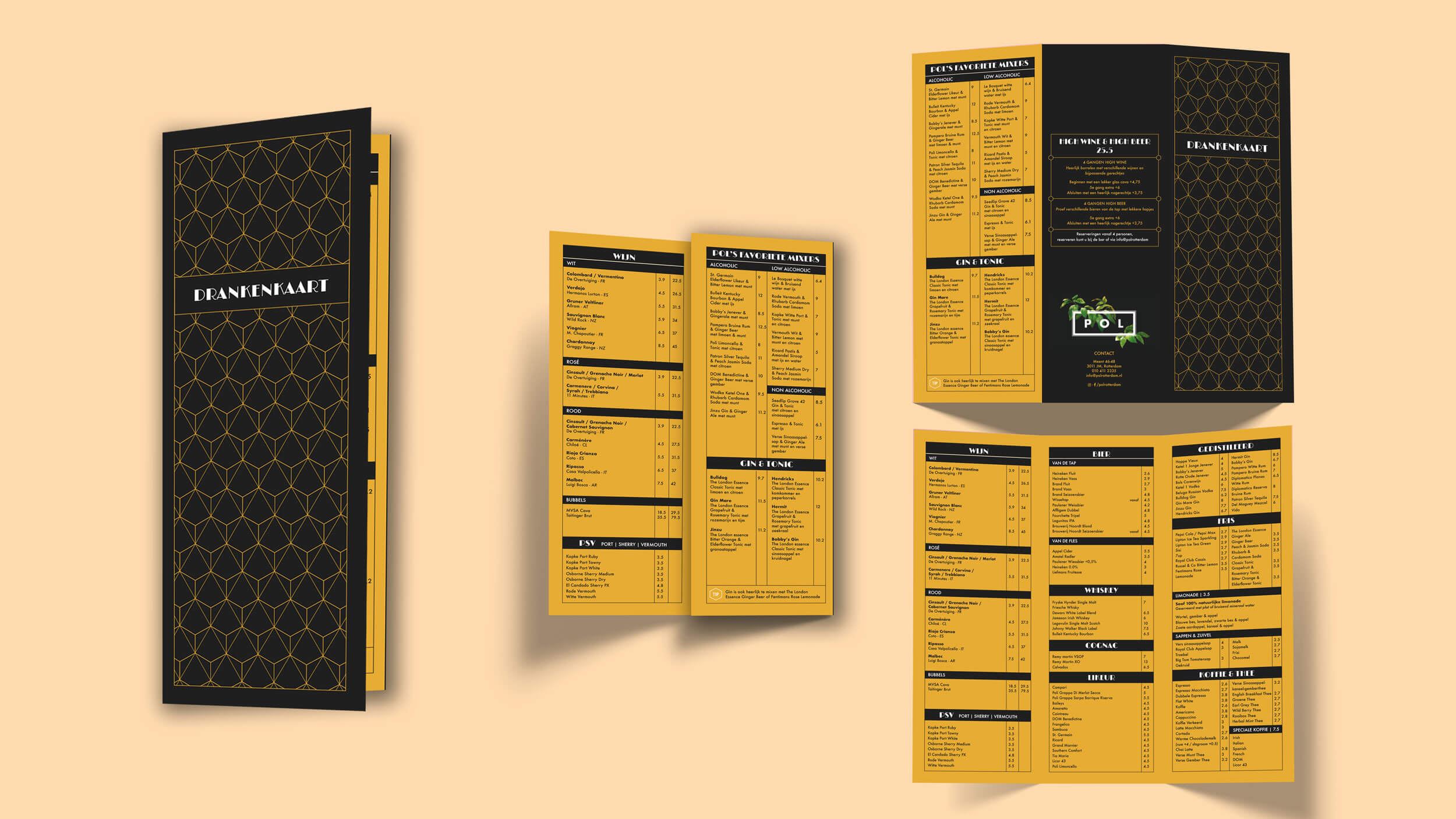 POL, Drankenkaart ontwerp, Mixus studio